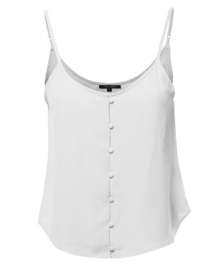 Women's Solid Front Button Cami Woven Top