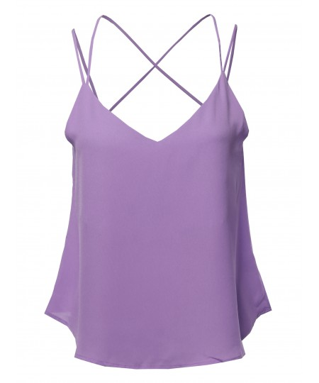 Women's Solid V-Neck Back Cross Double Strap Woven Cami Tank Top