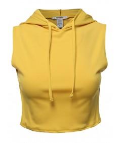 Women's Solid Sleeveless Drawstring Hood Crop Top