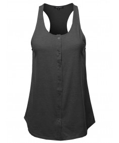 Women's Solid Sleeveless Button Up Tank Top