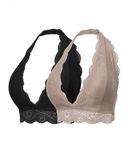 Women's Solid Lace Cami Halter Neck Bralette
