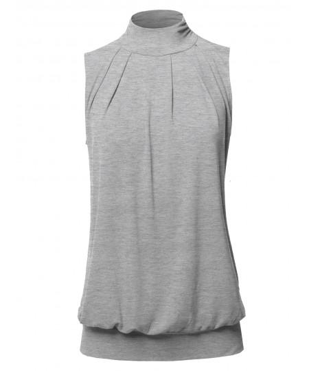 Women's Solid Sleeveless High Turtleneck Top