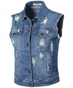 Women's Relaxed Fit Stretch Distressed Frayed Cropped Denim Trucker Vest