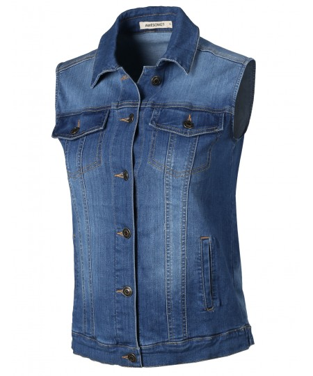 Women's Relaxed Fit Stretch Pockets Washed Jean Denim Trucker Vest