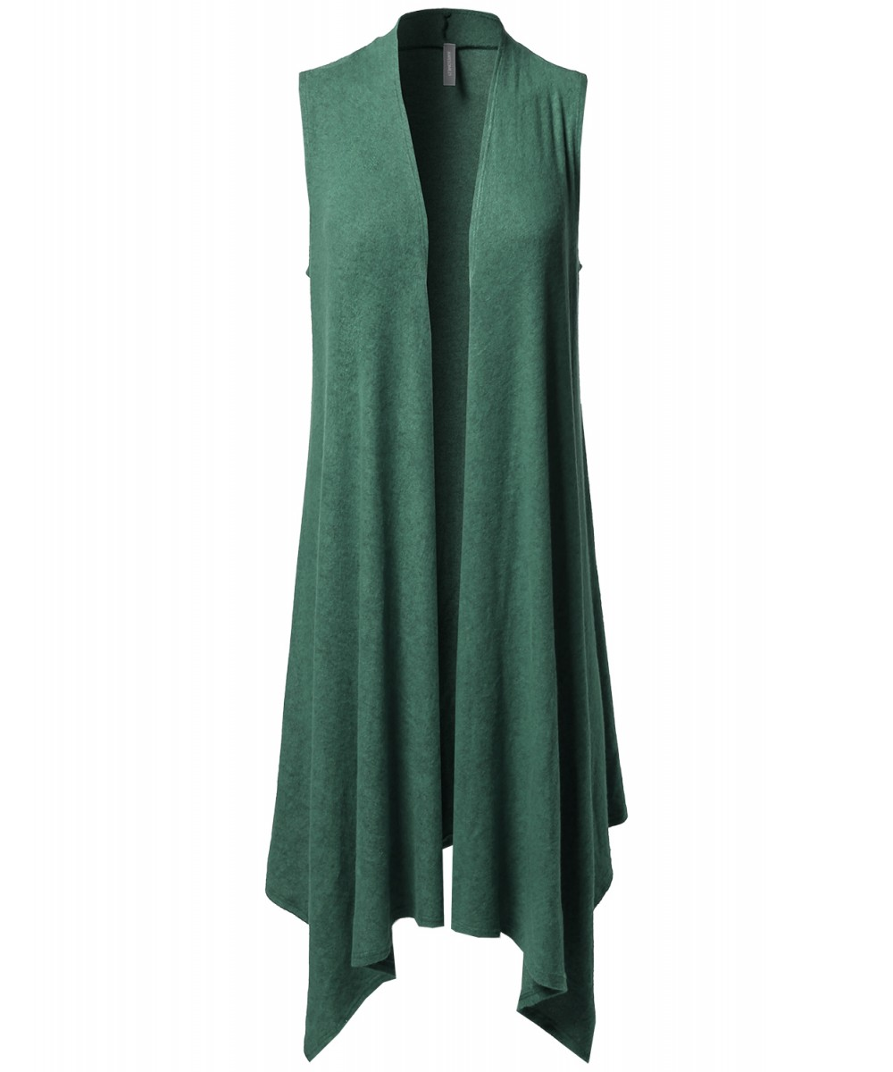 Women's Solid Sleeveless Asymmetric Hem Open Front Drape Sweater ...