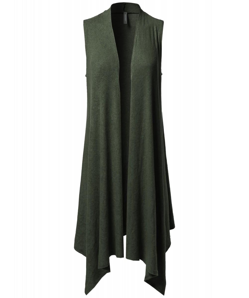 Women's Solid Sleeveless Asymmetric Hem Open Front Drape ...