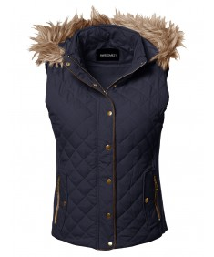 Women's Casual Solid Quilted Padding Vest With Fur Trimmed Hood