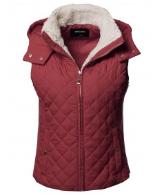 Women's Solid Full Zip Up Closure Faux Shearing Lined Quilted Padding Hoodie Vest