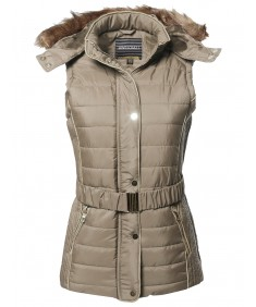 Women's Casual Leather Detail Detachable Hoodie Padded Vest With Belt