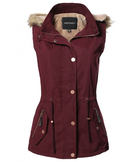 Women's Casual Solid Drawstring at Waist Anorak Vest with Detached Hoodie