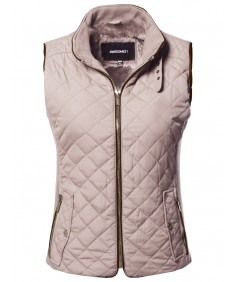 Women's Casual Solid Suede Piping Detail Quilted Padding Vest