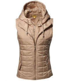 Women's Casual Solid Detachable Hoodie Double Zipper Quilted Padding Vest
