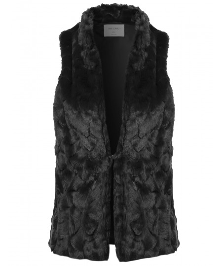 Women's Causal Hook & Eye Closure Faux Fur High Neck Vest