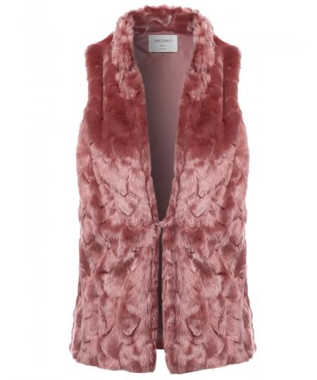 Women's Causal Hook & Eye Closure Faux Fur High Neck Vest