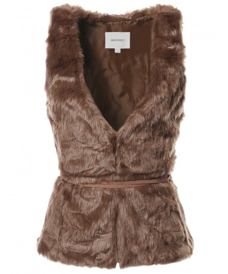 Women's Causal Hook & Eye Closure Suede Tie V-Neck Faux Fur Vest