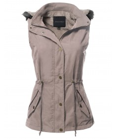 Women's Casual Solid Drawstring Waist Anorak Vest with Detached Hoodie