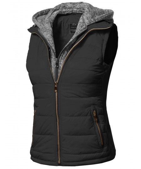 Women's Casual Solid Double Zipper Detachable Hoodie Padding Vest