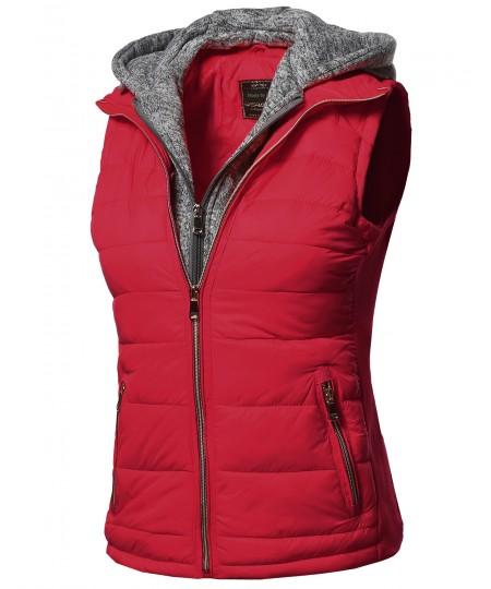 Women's Casual Solid Double Zipper Detachable Hoodie Padding Vest