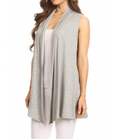 Women's Solid Open Front Draped Neck Sleeveless Vest Cardigan - Made in USA