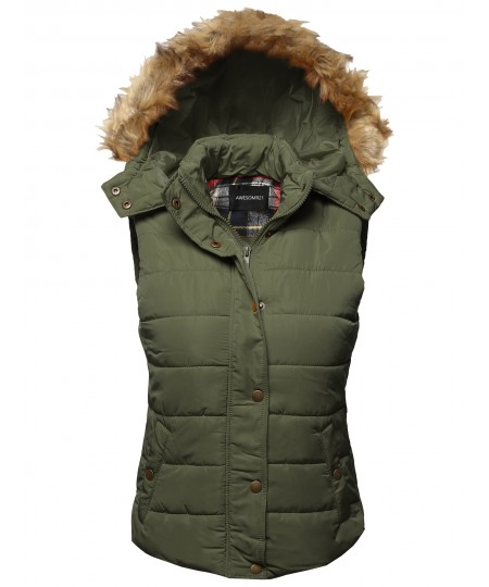 Women's Casual Cute Detachable Fur Hood Padded Vest