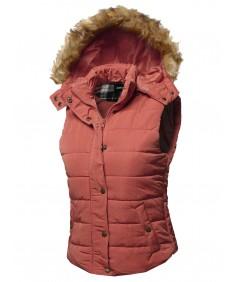 Women's Casual Cute Detachable Fur Hood Padded Vest