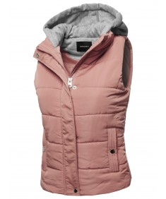 Women's Casual Drawstring Hooded Padding Vest