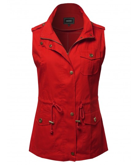 Women's Casual Solid Anorak Military Vest