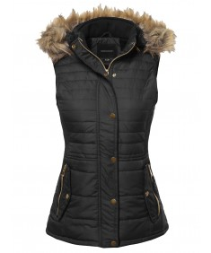 Women's Solid Thicken Vest Quilted Padding Puffer Vest