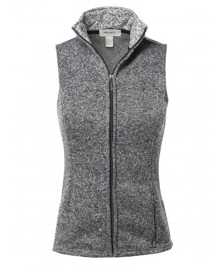 Women's Solid Yarn Dyed Fleece Zipper Vest
