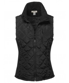 Women's Casual Quilted 2 Tone Vest