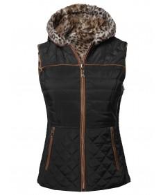 Women's Solid Puffer Reversible Vest