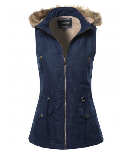 Women's Solid Vest Drawstring Waist Sleeveless Jacket