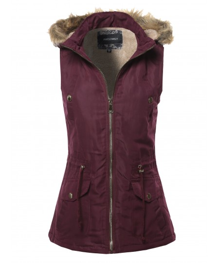 Women's Solid Vest Drawstring Waist Sleeveless Jacket