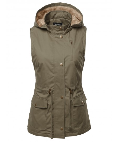Women's Solid Lightweight Sleeveless Anorak Vest