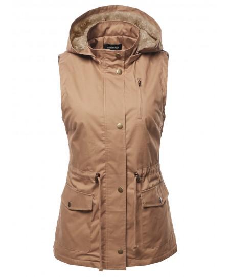 Women's Solid Lightweight Sleeveless Anorak Vest