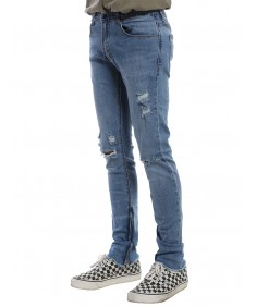 Men's Ripped Denim Jeans With Zipper Details