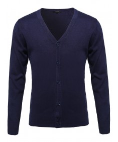 Men's Basic V-Neck Button Down Cardigan