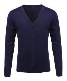 Men's Basic V-Neck Button Down Cardigan