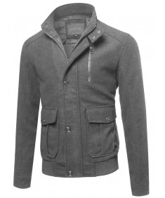 Men's Classic Long Sleeves Button & Zipper Closure Wool Blend Coat