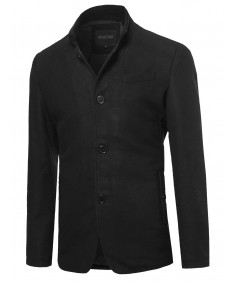Men's Classic British Long Sleeves Button Closure Wool Blend Coat