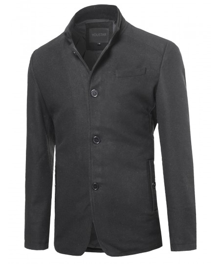 Men's Classic British Long Sleeves Button Closure Wool Blend Coat