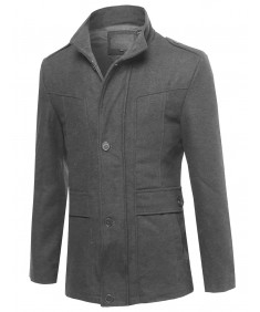 Men's Classic Zipper & Button Closure Shoulder Boards Wool Blend Coat