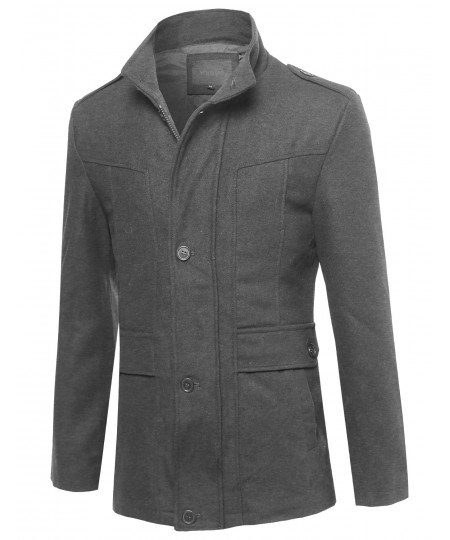Men's Classic Zipper & Button Closure Shoulder Boards Wool Blend Coat