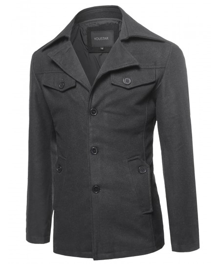 Men's Classic Long Sleeves Button Closure Front & Pockets Wool Blend Coat
