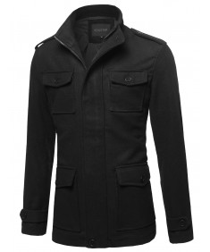 Men's Classic Long Sleeves Zipper & Button Closure Wool Blend Coat