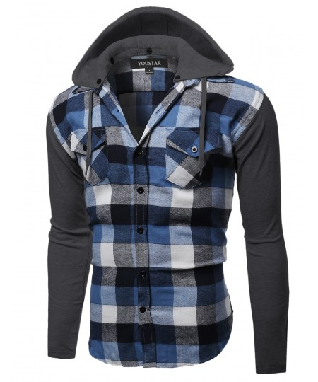 Men's Plaid Checkered Detachable Hoodie Color Contrast Flanel Shirt