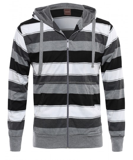 Men's Basic Stripe Light Weight Hoodie