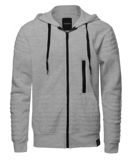 Men's Fashion Hoodie Jacket With Contrast Zipper And Ribbed Details