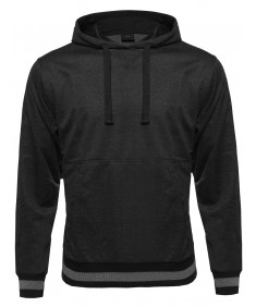 Men's Long Sleeve Muff Pocket Pullover Hoodie With Stripe Details