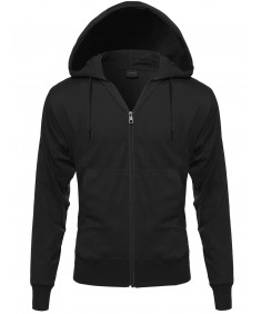 Men's Basic Lightweight Hoodie With Zip Up Closure